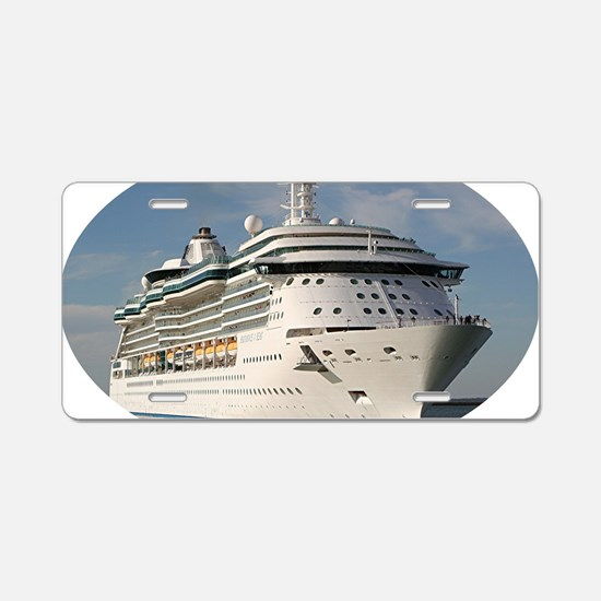 Cruise ship 3 (oval) Aluminum License Plate