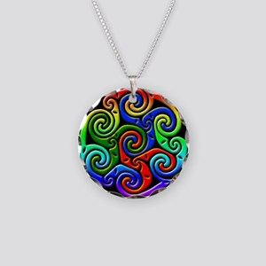Celtic Waves Necklace Circle Charm