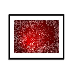 SNOWFLAKES (RED) Framed Panel Print