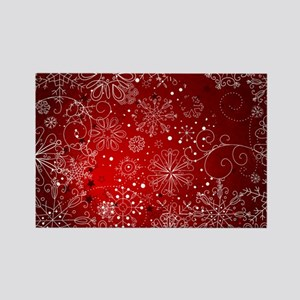 SNOWFLAKES (RED) Rectangle Magnet