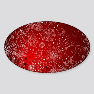 SNOWFLAKES (RED) Sticker (Oval)
