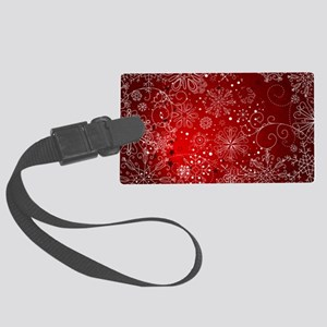 SNOWFLAKES (RED) Large Luggage Tag