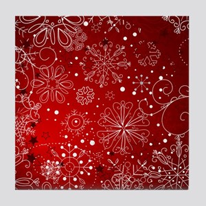 SNOWFLAKES (RED) Tile Coaster
