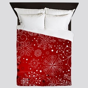 SNOWFLAKES (RED) Queen Duvet