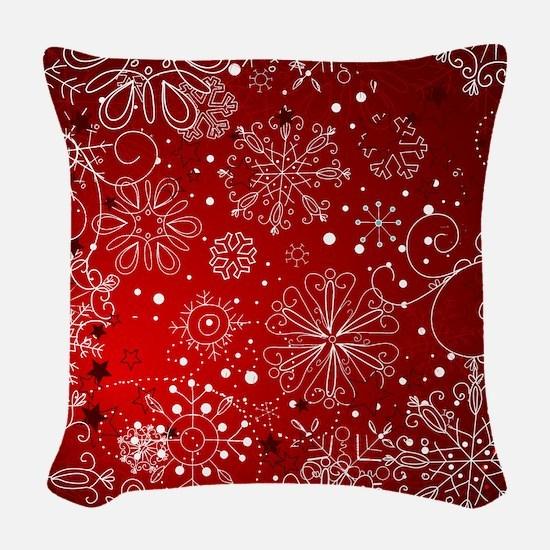 SNOWFLAKES (RED) Woven Throw Pillow