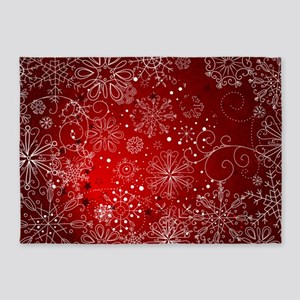 Snowflakes Red 5 X7 Area Rug