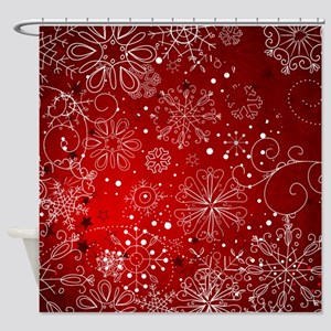 SNOWFLAKES (RED) Shower Curtain