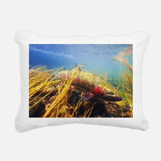 Rainbow Trout - Fly Fish Rectangular Canvas Pillow