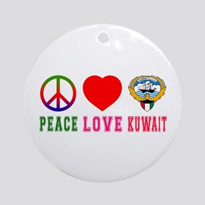 Peace Love Kuwait Ornament (Round)