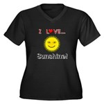 I Love Sunshine Women's Plus Size V-Neck Dark T-Sh