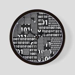 Binary in Black White Wall Clock