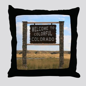 Welcome to Colorful Colorado Road Sig Throw Pillow