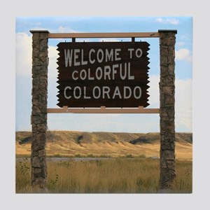Welcome to Colorful Colorado Road Sig Tile Coaster