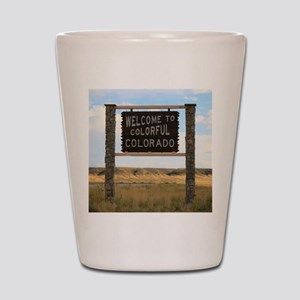Welcome to Colorful Colorado Road Sign  Shot Glass
