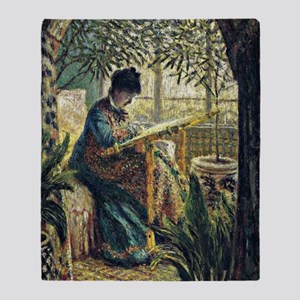 Monet: Madame Monet Embroidering, fa Throw Blanket
