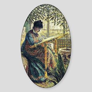 Monet: Madame Monet Embroidering, f Sticker (Oval)