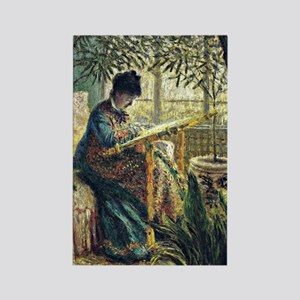 Monet: Madame Monet Embroidering, Rectangle Magnet