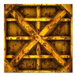 Rusty Shipping Container - yellow Square Car Magne