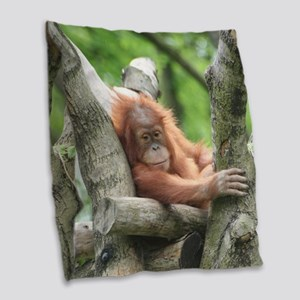 OrangUtan015 Burlap Throw Pillow