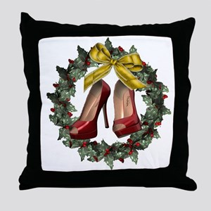 Red Stiletto Shoe Christmas Wreath Throw Pillow