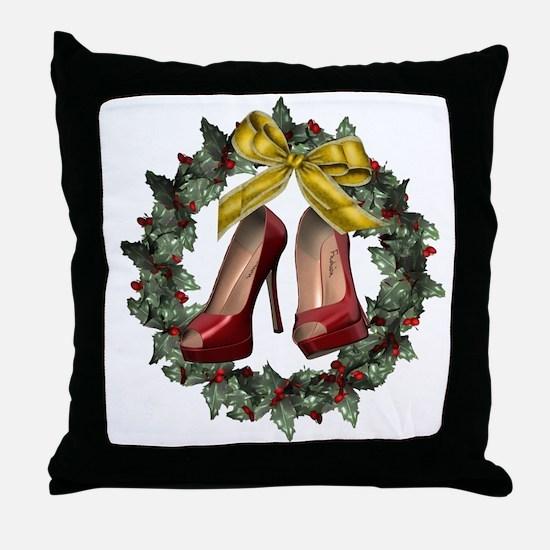 Red Stiletto Shoe Christmas Wreath Throw Pillow