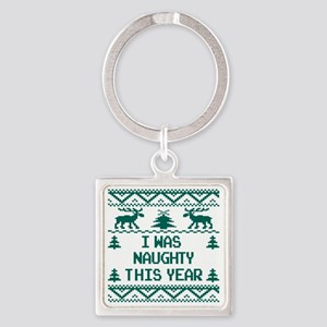 I was Naughty This Year Ugly Chris Square Keychain