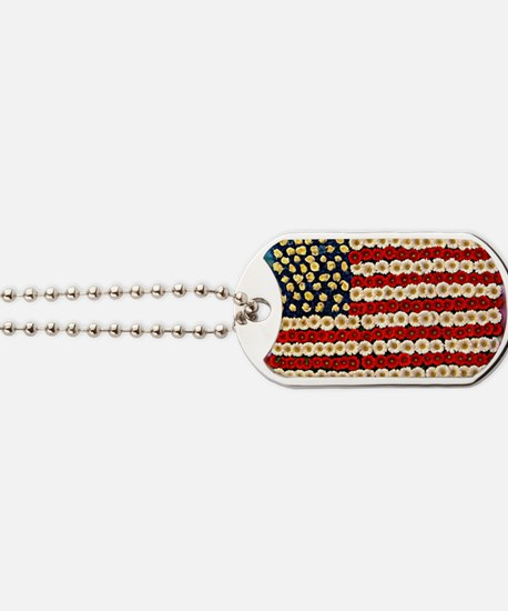 Flower Power US Banner Dog Tags
