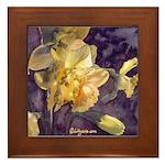 Moonlight Daffodils Framed Tile
