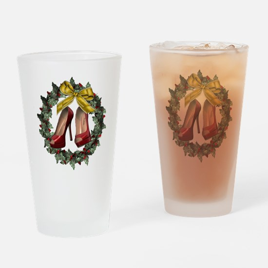 Red Stiletto Shoe Holiday Wreath Drinking Glass