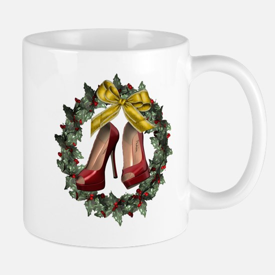Red Stiletto Shoe Holiday Wreath Mugs