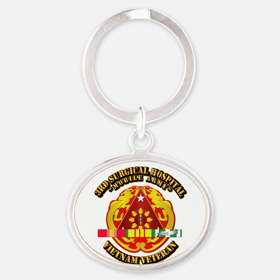 3rd Surgical Hospital w SVC Ribbon Oval Keychain