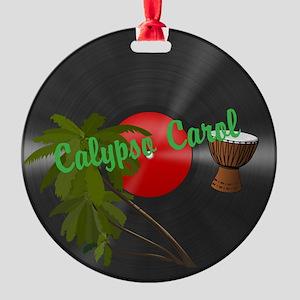 Calypso Carol Christmas Vinyl Round Ornament