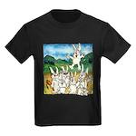 Bunny Rabbits Jump Kids Dark T-Shirt