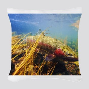 Rainbow Trout Woven Throw Pillow