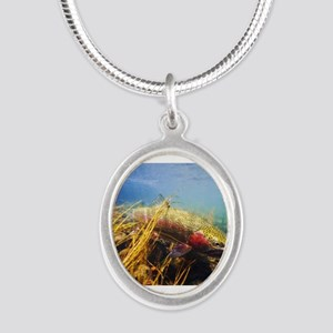 Rainbow Trout Silver Oval Necklace