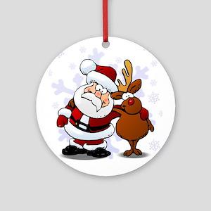 Santa, Rudolph Christmas Ornament (Round)