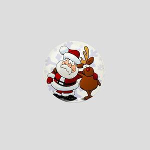 Santa, Rudolph Christmas Mini Button