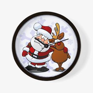 Santa, Rudolph Christmas Wall Clock