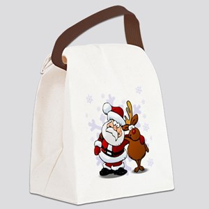 Santa, Rudolph Christmas Canvas Lunch Bag