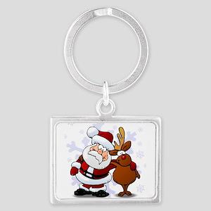 Santa, Rudolph Christmas Landscape Keychain