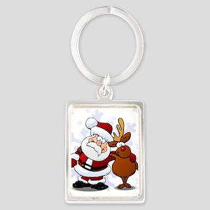 Santa, Rudolph Christmas Portrait Keychain