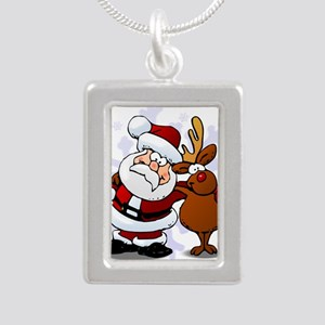 Santa, Rudolph Christmas Silver Portrait Necklace