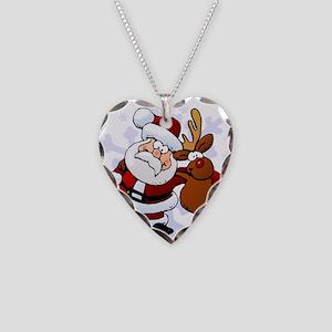 Santa, Rudolph Christmas Necklace Heart Charm