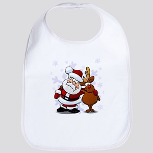 Santa, Rudolph Christmas Bib
