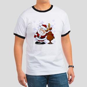 Santa, Rudolph Christmas Ringer T