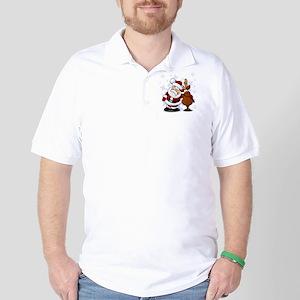 Santa, Rudolph Christmas Golf Shirt