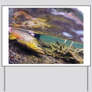 Brown Trout - Catch and Release Yard Sign