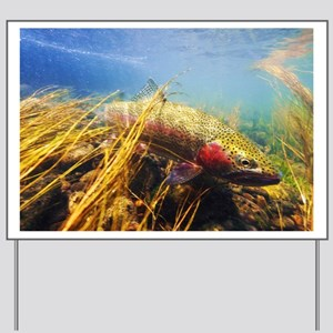 Rainbow Trout - Fly Fishing Yard Sign