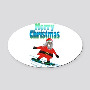 Snowboard Santa Oval Car Magnet