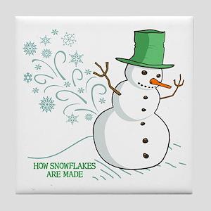 Funny Snowman Snowflakes Illustration Tile Coaster